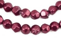 40 x 10mm Dark Red Hexagon Shaped Glass Pearl Beads